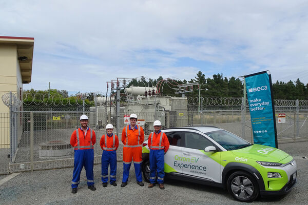 <p>The Beca team at the Motukarara Substation, with the Orion EV!</p>